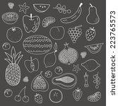 fruit hand drawn vector pattern | Shutterstock .eps vector #223765573