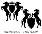 Horses With Shields Vector...