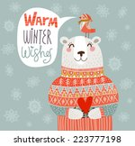 warm winter wishes card in...   Shutterstock .eps vector #223777198