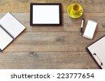 office desk mock up template... | Shutterstock . vector #223777654
