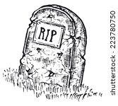 hand drawn isolated tombstone ... | Shutterstock .eps vector #223780750