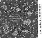 fruity hand drawn seamless... | Shutterstock .eps vector #223782223