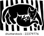 Stock vector cat dog the pets are sleeping together black and white graphic illustration 22379776
