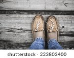 two legs wearing orange chamois ... | Shutterstock . vector #223803400