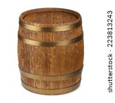 Old Wooden Barrel Isolated On...