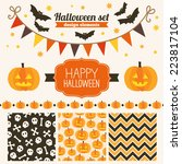halloween set of design... | Shutterstock .eps vector #223817104