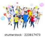 group of excited young adult... | Shutterstock . vector #223817473