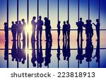 silhouettes of business people... | Shutterstock . vector #223818913