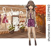 fashion girl in stylish outfit | Shutterstock .eps vector #223819960