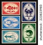 set of vector postage stamps... | Shutterstock .eps vector #223823983