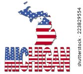 michigan map flag and text... | Shutterstock .eps vector #223829554