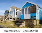 beach huts on mudeford spit at...