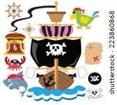pirate ship vector illustration | Shutterstock .eps vector #223860868