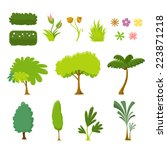 tree and leaf vector set   on... | Shutterstock .eps vector #223871218