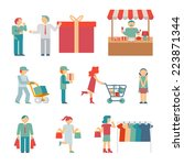 vector shopping characters and...   Shutterstock .eps vector #223871344