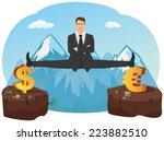 businessman doing splits on... | Shutterstock .eps vector #223882510