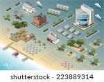 isometric hotel resort city... | Shutterstock . vector #223889314