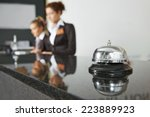 Stock photo modern luxury hotel reception counter desk with bell 223889923