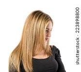 blonde girl over isolated white ... | Shutterstock . vector #223898800