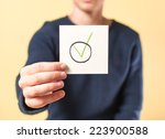 drawing image in hand yes | Shutterstock . vector #223900588