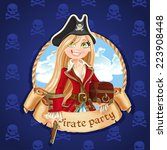 Постер, плакат: Cute pirate girl with