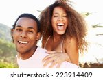 young couple having fun on... | Shutterstock . vector #223914409