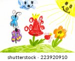 wild flower and butterfly on... | Shutterstock . vector #223920910