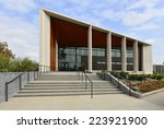Small photo of BAKERSFIELD, CA - OCTOBER 15, 2014: This example of modern architecture is a recent addition to the city. The United States Court House also includes the General Services Administration offices.
