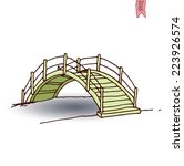 Wooden Arch Bridge  Vector...