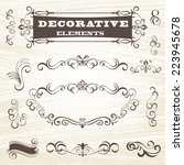 vintage frames and scroll... | Shutterstock .eps vector #223945678