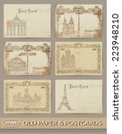 set of old postcards. european... | Shutterstock .eps vector #223948210