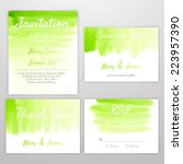 set of wedding invitation with... | Shutterstock .eps vector #223957390