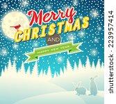 Christmas night landscape - stock vector