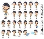 set of various poses of girl... | Shutterstock .eps vector #223961668