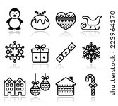 Christmas  Winter Icons With...