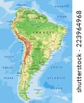 high detailed south america... | Shutterstock .eps vector #223964968