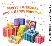 card with christmas and new... | Shutterstock .eps vector #223981960
