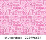seamless doodle medical pattern | Shutterstock .eps vector #223996684