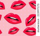seamless lips pattern over pink ...   Shutterstock .eps vector #223997173