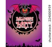 vector happy halloween card... | Shutterstock .eps vector #224000959