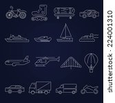 transport outline icons set... | Shutterstock .eps vector #224001310