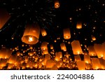 floating lantern at chiang mai... | Shutterstock . vector #224004886