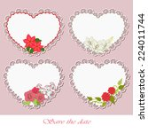 lacy hearts with flowers | Shutterstock .eps vector #224011744