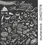 Hand Drawn Food Doodles On...