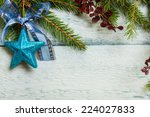 christmas tree with decoration... | Shutterstock . vector #224027833