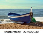 fisherman boat on the beach at... | Shutterstock . vector #224029030