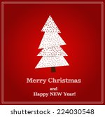 christmas tree christmas card.... | Shutterstock .eps vector #224030548