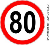 speed limit sign number eighty... | Shutterstock .eps vector #224034160