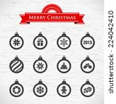 christmas balls icons set.