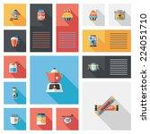 coffee flat ui background set ... | Shutterstock .eps vector #224051710